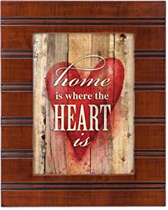 Home is Where the Heart is Wood Finish 8 x 10 Framed Wall Art Plaque