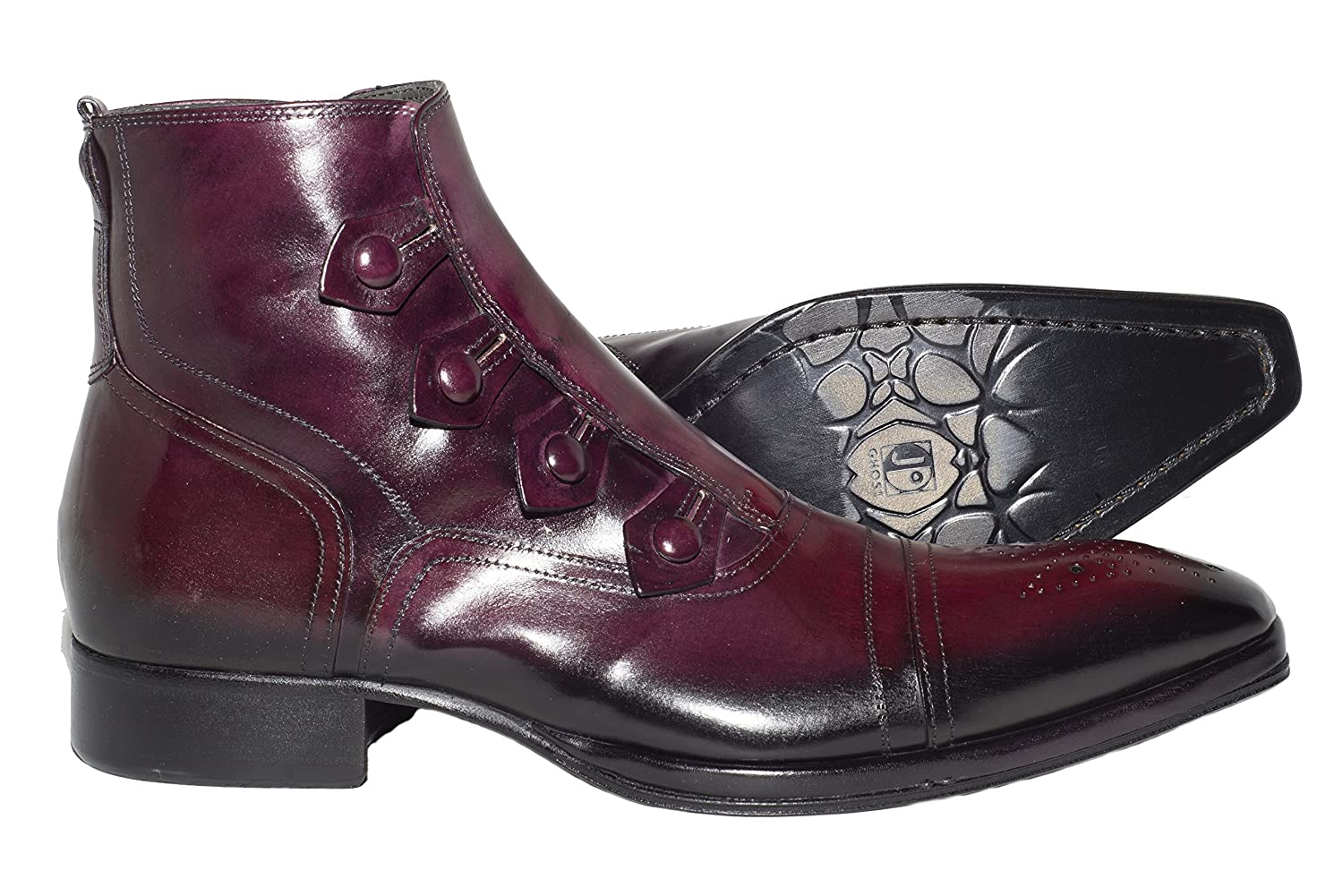 Jo Ghost 802 Italian mens bordo ankle boots with decorative buttons and zipper