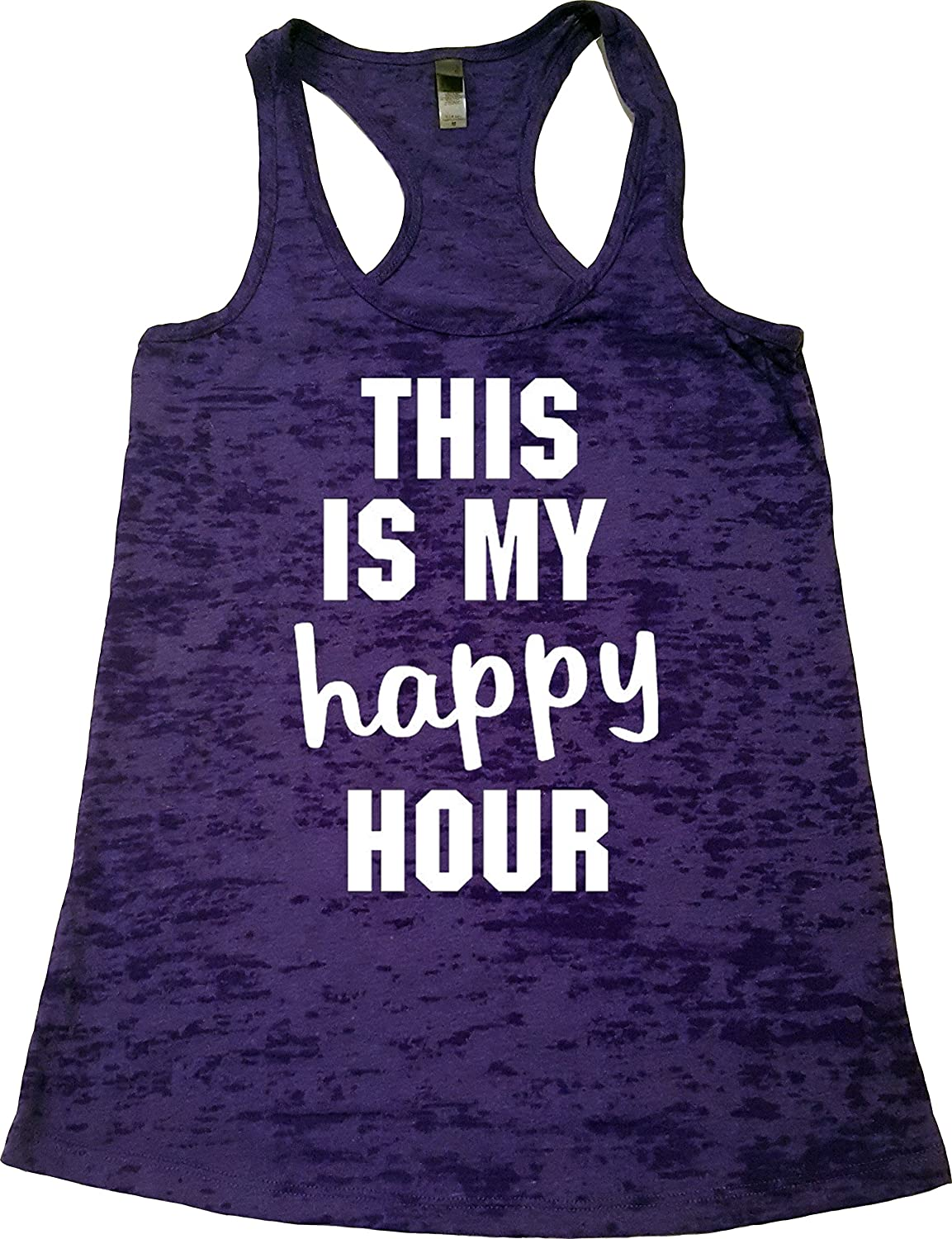 1a1791e6f7 Amazon.com: Orange Arrow Womens Workout Tank - This Is My Happy Hour -  Zumba Burnout Tops: Clothing