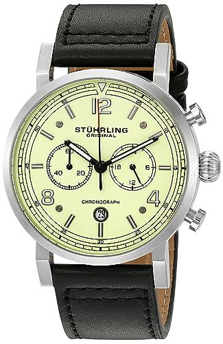 Stuhrling Original Men s Aviator Quartz Stainless Steel and Leather Dress Watch, Color Black Model 583.02