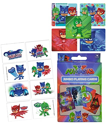PJ MASKS Stickers, Temporary Tattoos & Jumbo Playing Cards! Featuring Catboy, Owlette &