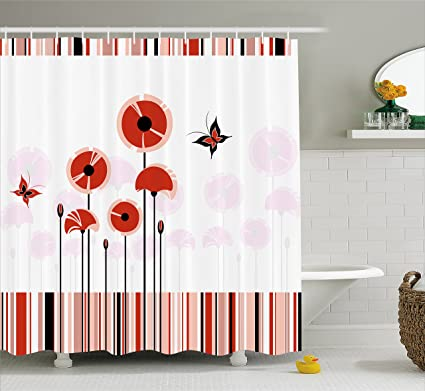 Lunarable Spring Shower Curtain Red Poppy Flowers Field With Butterflies Flying Theme Inspirational Season