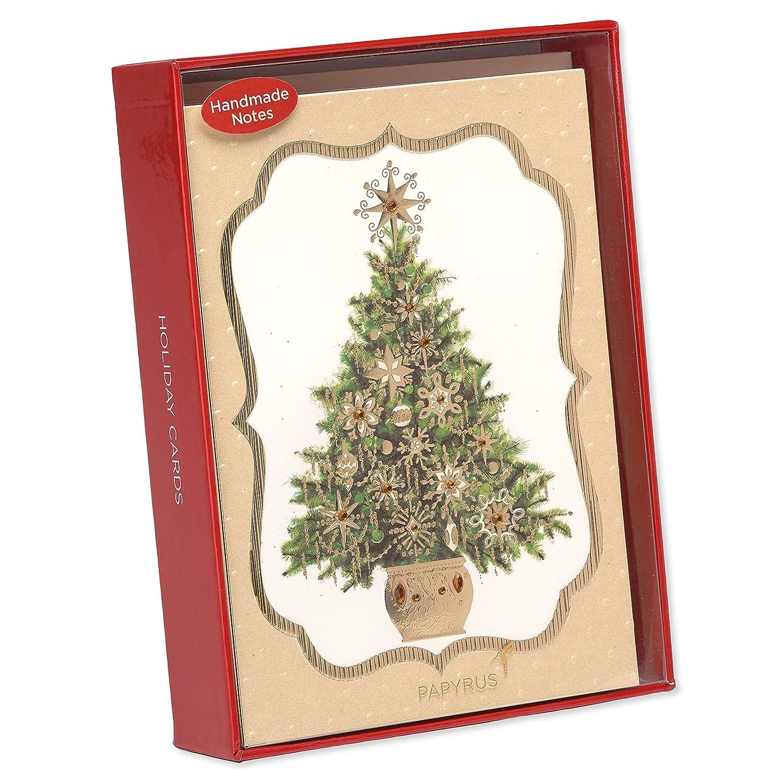 Amazon.com : Papyrus Elegant Gem Christmas Tree Christmas Cards ...