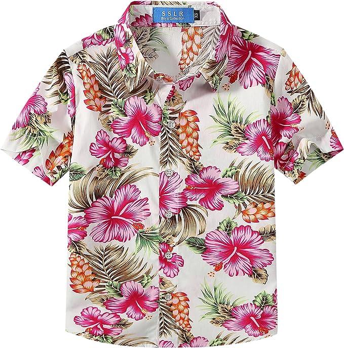 SSLR Camisa Hawaiana Colorida de Manga Corta de Flores de Verano para Niño: Amazon.es: Ropa y accesorios