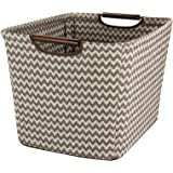 Household Essentials 661-1 Medium Tapered Fabric Storage Bin with Wood Handles | Brown Chevron
