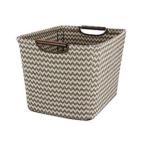 Household Essentials 661-1 Medium Tapered Fabric Storage Bin with Wood Handles |Brown Chevron
