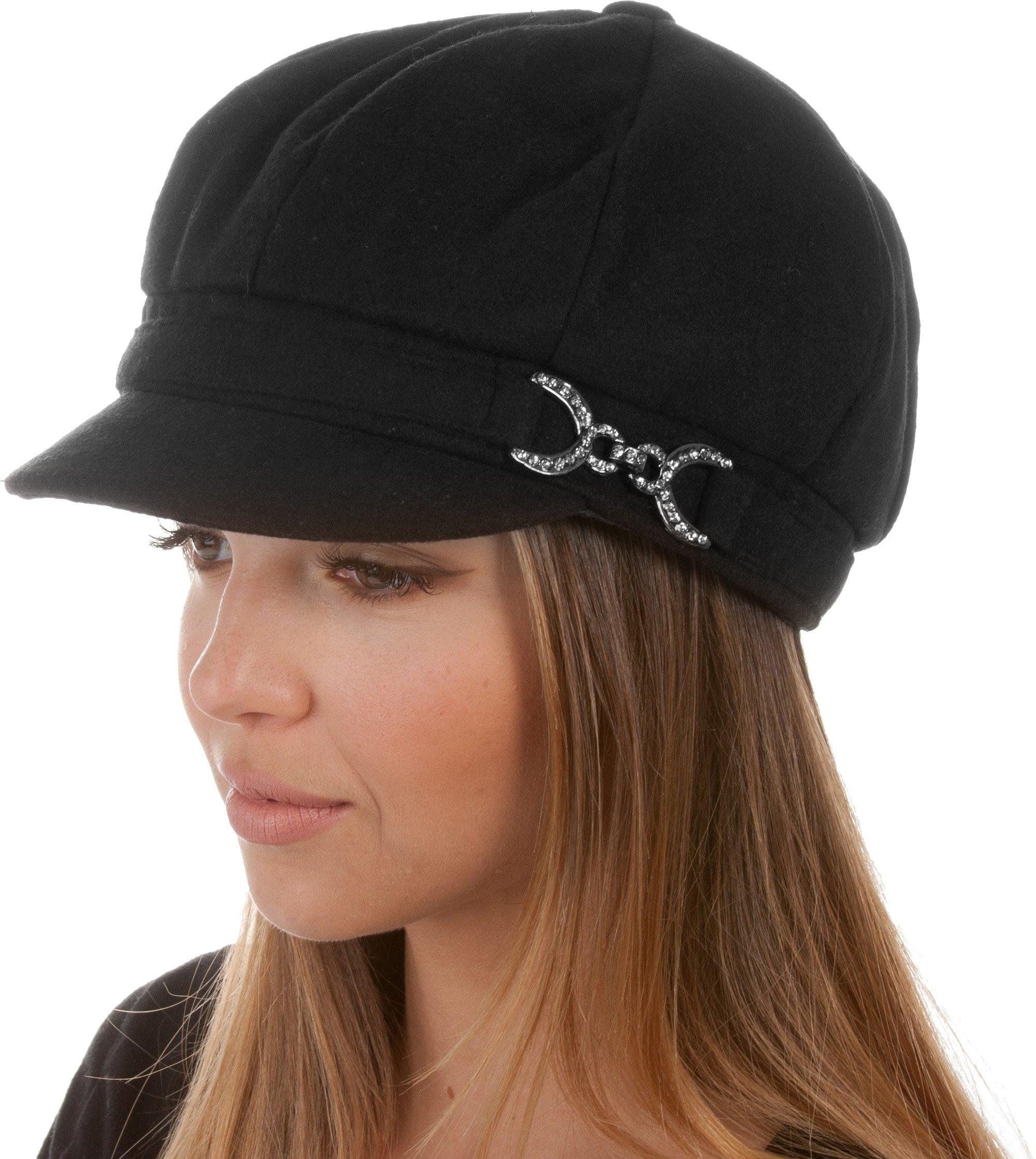 Sakkas 305BC Jessica Wool Newsboy Cabbie Hat with Rhinestone Buckle - Black - One Size
