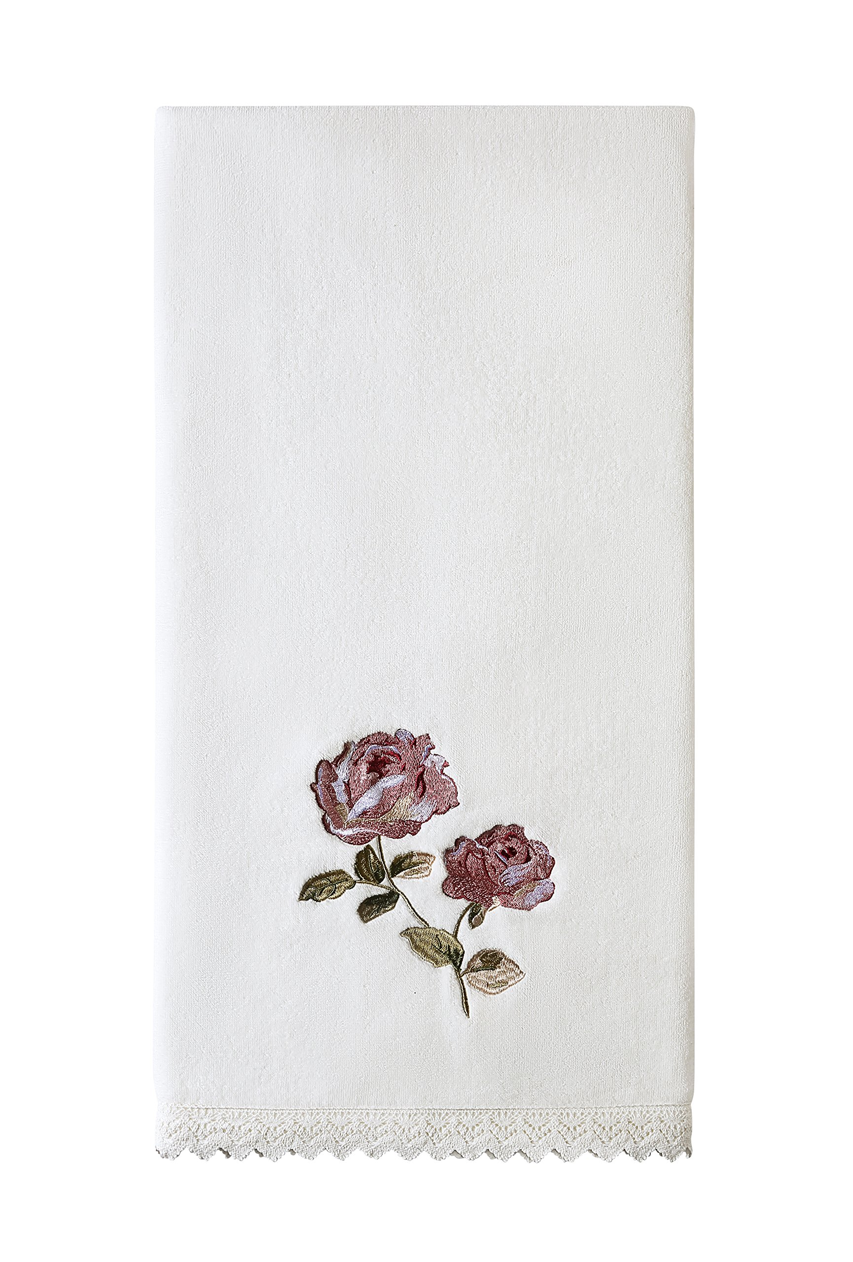 Five Queens Court Rosalind Country Chic Floral Embroidered Crochet Trim Bath Towel, Pink Rose by Five Queens Court (Image #1)