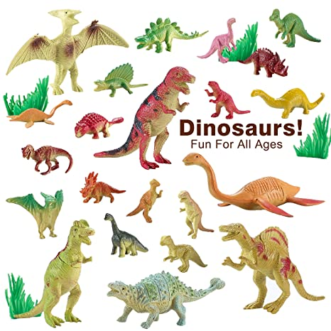 Minihorse-Educational toys (22 pieces) Bucket of Dinosaurs - Tub of educational dinosaur toy playset - small bucket allows for quick cleanup of your childs pretend play toys!