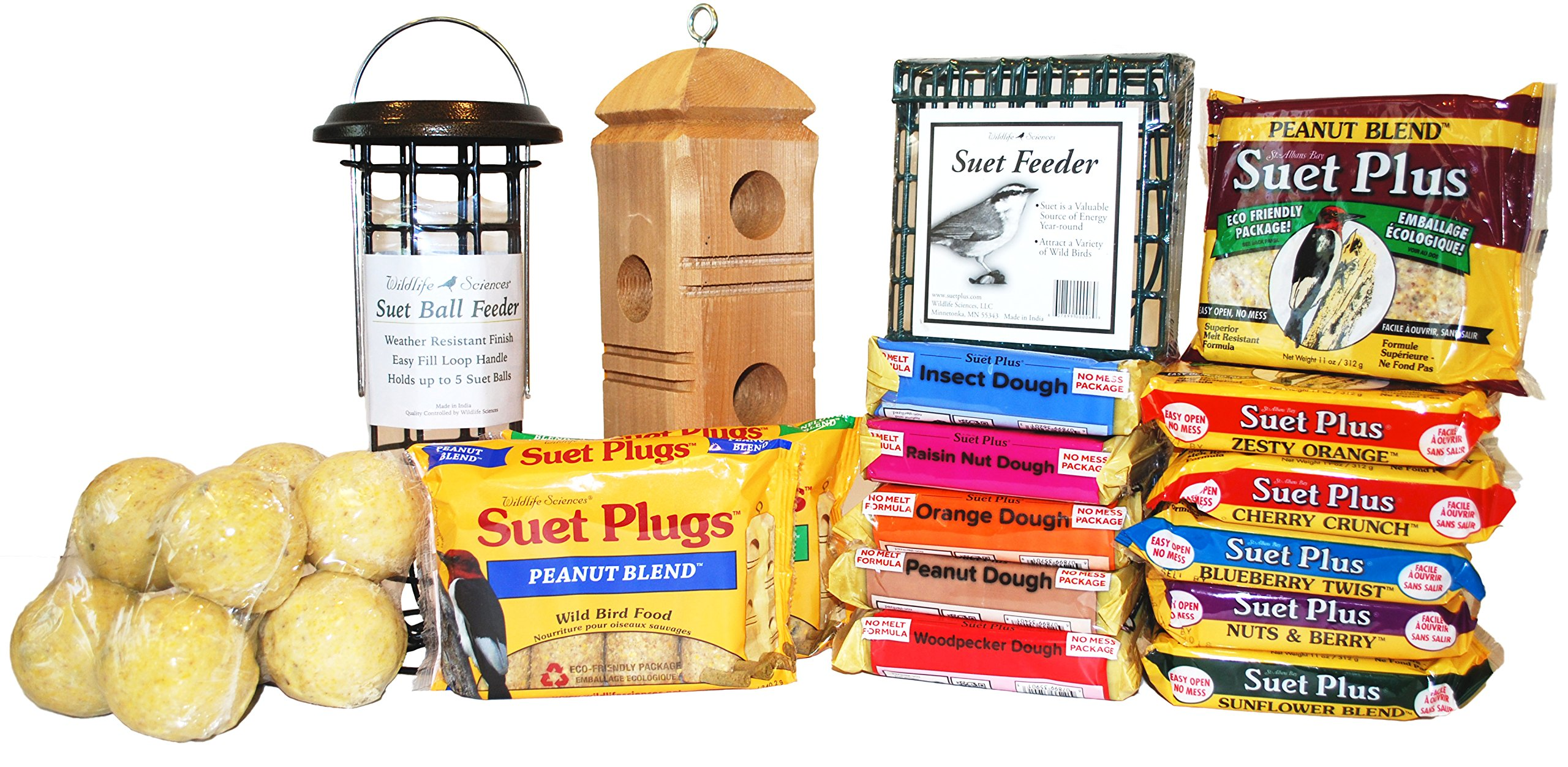 Ultimate Suet Pack for Wild Birds with 30 Items, Suet Cakes, Suet Feeders, Suet Balls, and Suet Plugs by ST. ALBANS BAY SUET PLUS