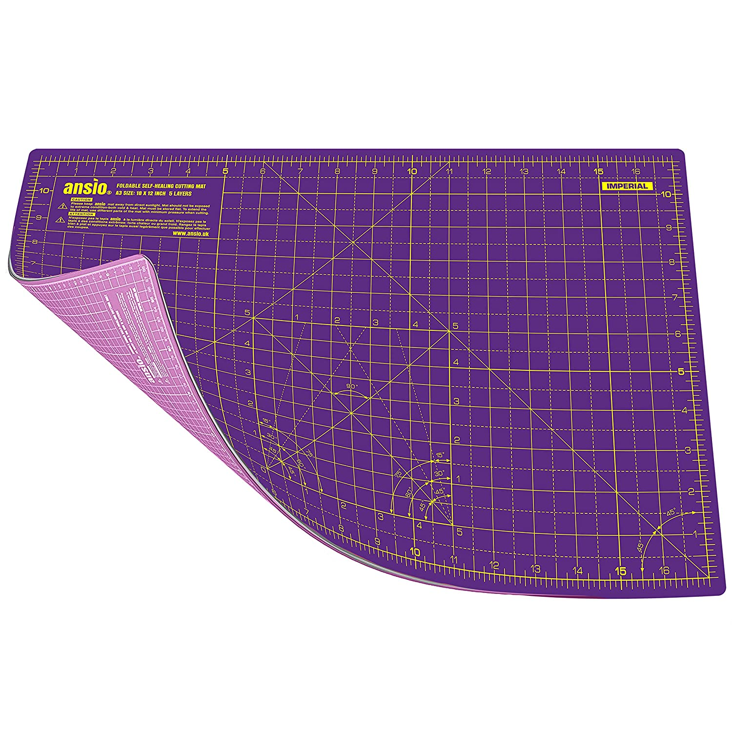 ANSIO A3 Double Sided Self Healing 5 Layers Cutting Mat Imperial/Metric 18 Inch x 12 Inch/45cmx 30cm - Carnation Pink/Royal Purple