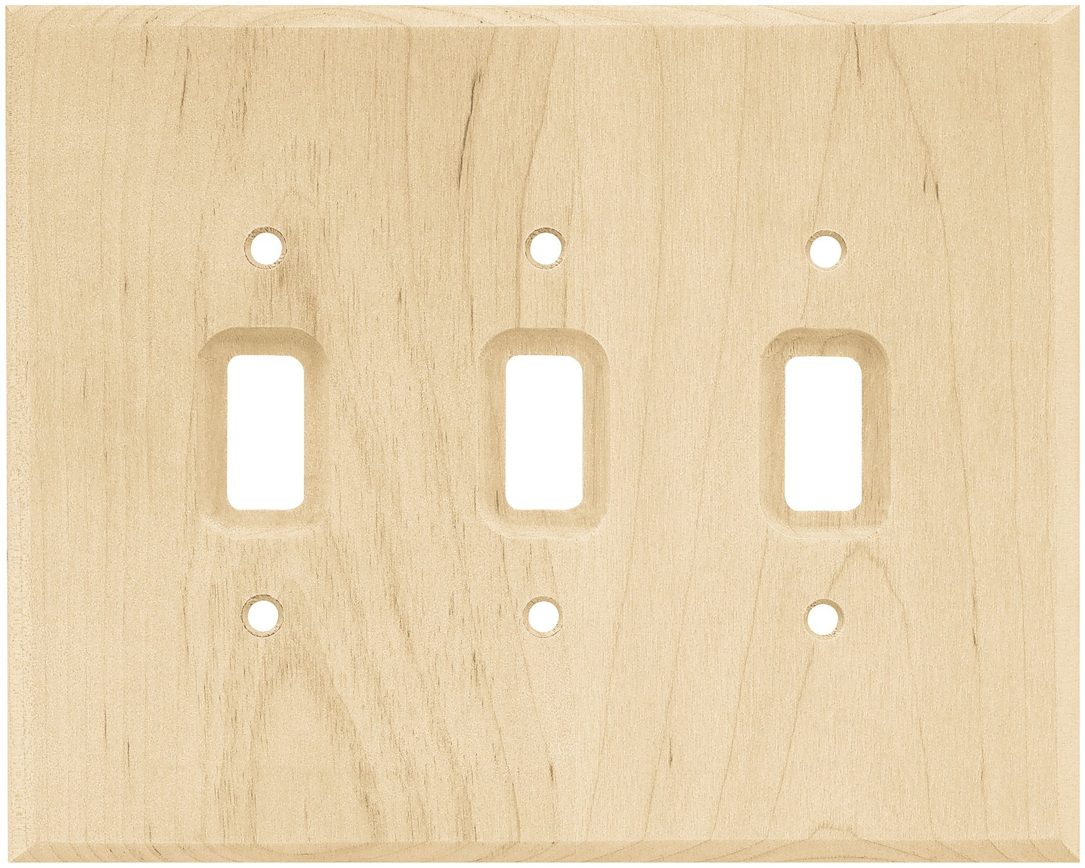 Brainerd 126796 Wood Square Triple Toggle Switch Wall Plate / Switch Plate / Cover, Unfinished