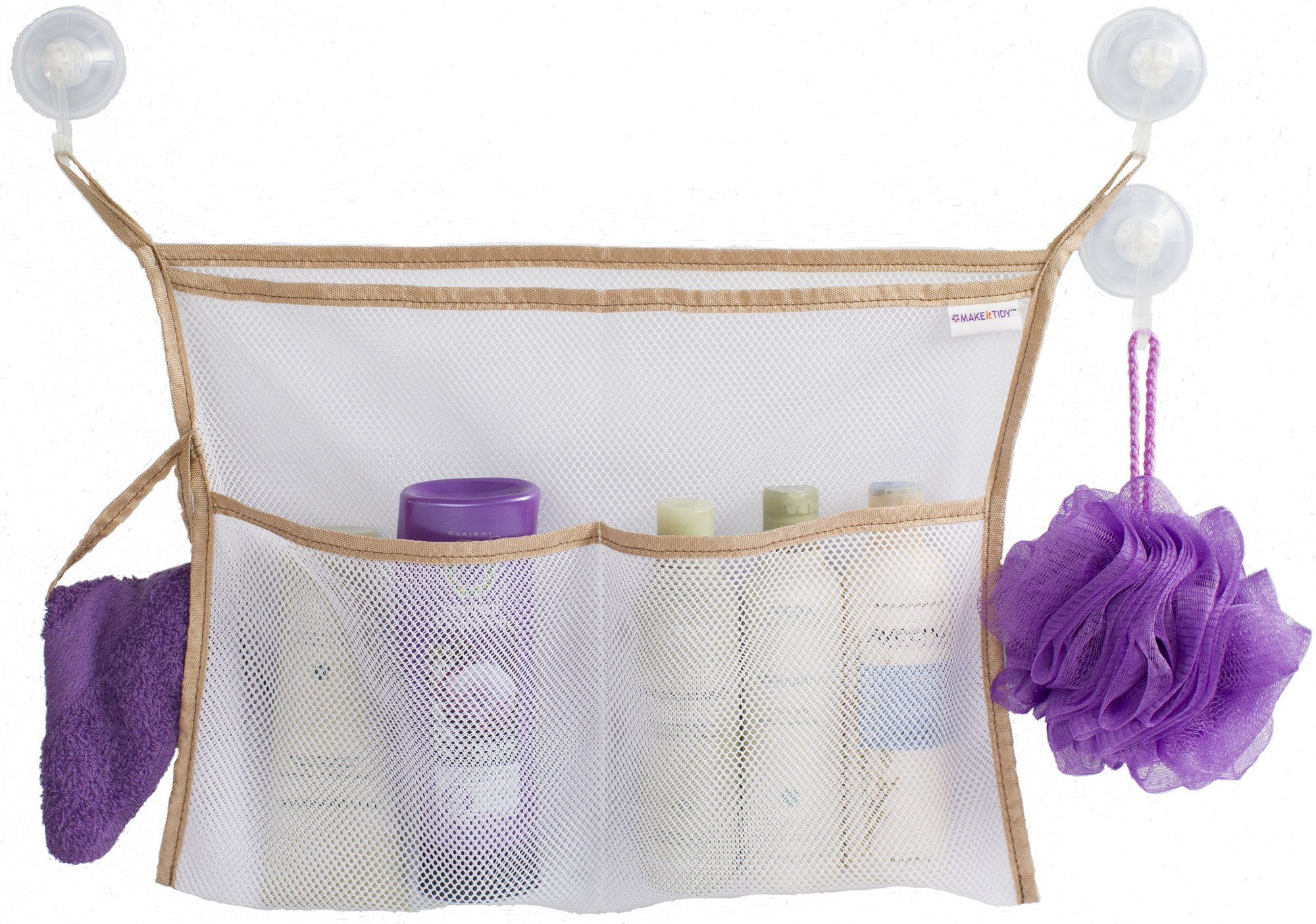 Bath Toy Organizer - BEST Storage Holder for Baby Toys or Shower Caddy - 3 Extra Strong Vacuum Suction Cups