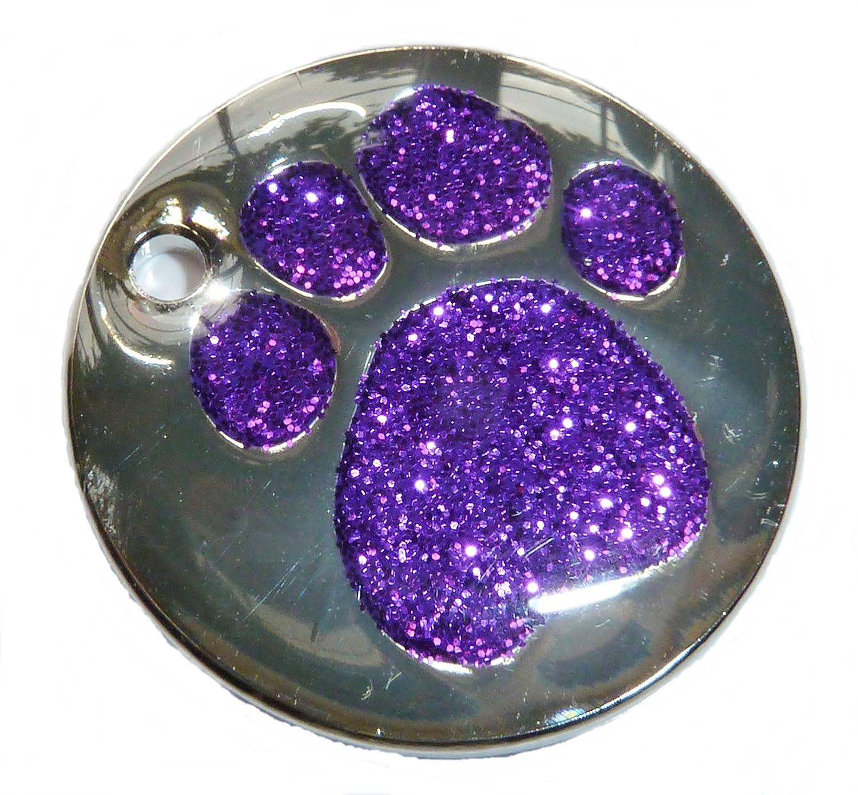 grabado personalizado dise/ño de huella de perro con purpurina Placa de identificaci/ón para perro de 25/mm