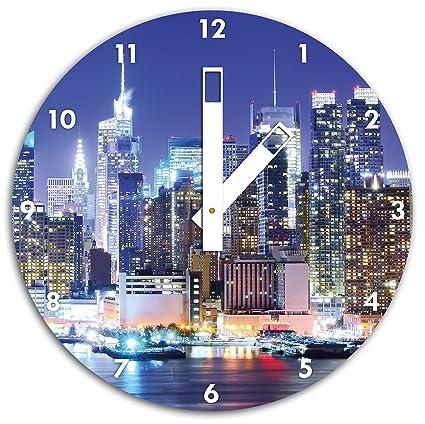 New York Skyline noche-Reloj de pared con las manos cuadrados y objetos de decoración
