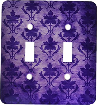 3drose Lsp 30058 2 Vintage Wallpaper Pattern Purple Double Toggle Switch Switch Plates
