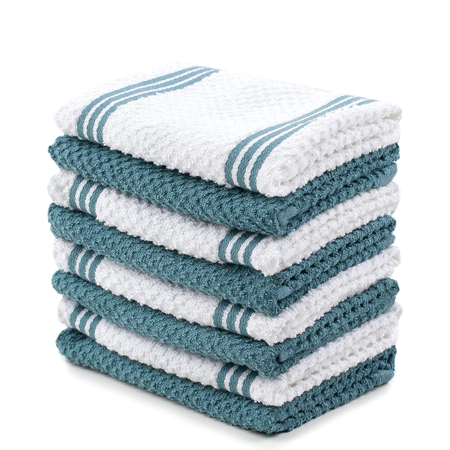 Sticky Toffee Cotton Terry Kitchen Dishcloth, Blue, 8 Pack, 12 in x 12 in