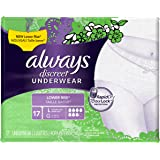 Always Discreet, Incontinence Underwear for Women, Low Rise, Moderate Absorbency, Large, 17 Count