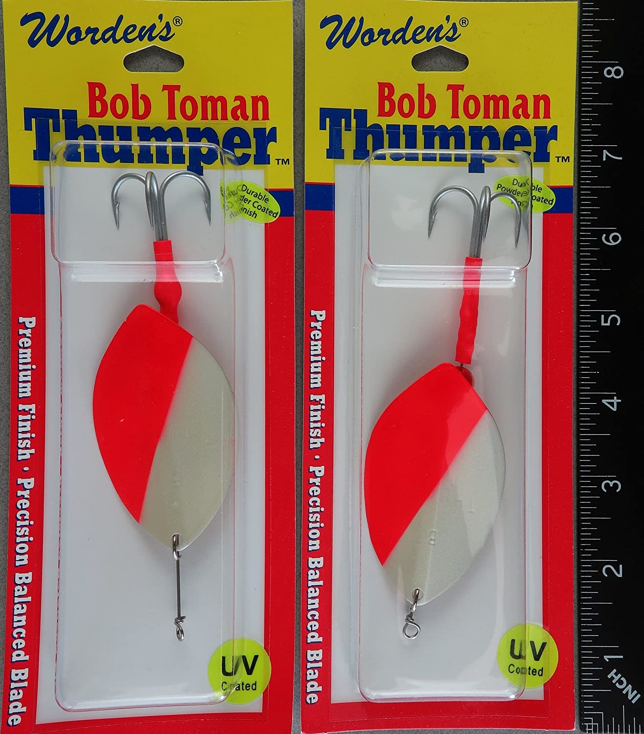 TWO Bob Toman/'s Size 13 Thumper Spinners 5100U-WHR White Red Spinner