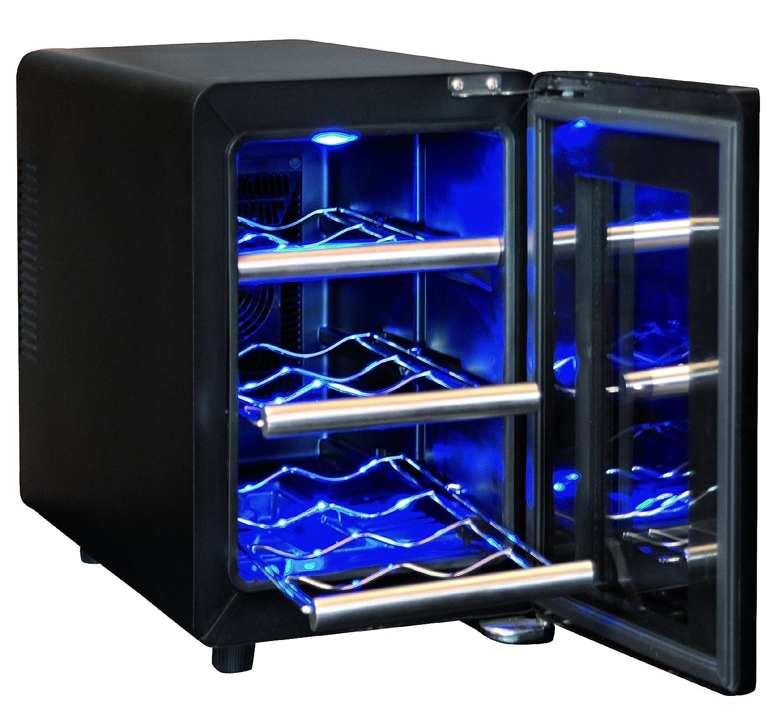 Sonnenkönig of Switzerland Cava 6 Mono Weinkühlschrank/50.0 cm Höhe/Ausführung aus Edelstahl und Glas/Innenbeleuchtung/silber/schwarz [Energieklasse A]