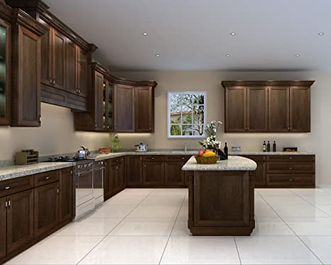 Amazon.com: Kitchen Cabinets (10x10, Portland Chestnut ...