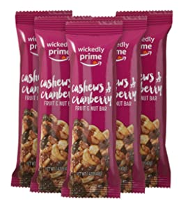 Wickedly Prime Fruit & Nut Bar, Cashews & Cranberry, 1.4 Ounce (Pack of 5)