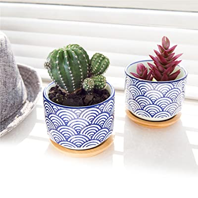3 inch Japanese Style Wave Ceramic Pots