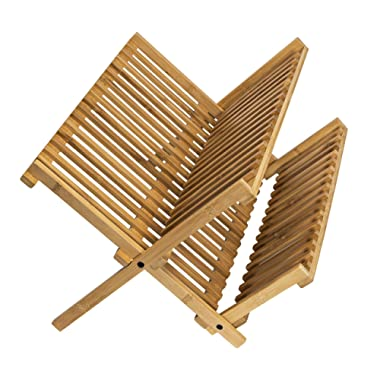 Bamboo 2-tier Dish Drying Rack - Collapsible Compact Bamboo Dish Drainer - Countertop Dish Dryer (20 slots 18x10x9.5)