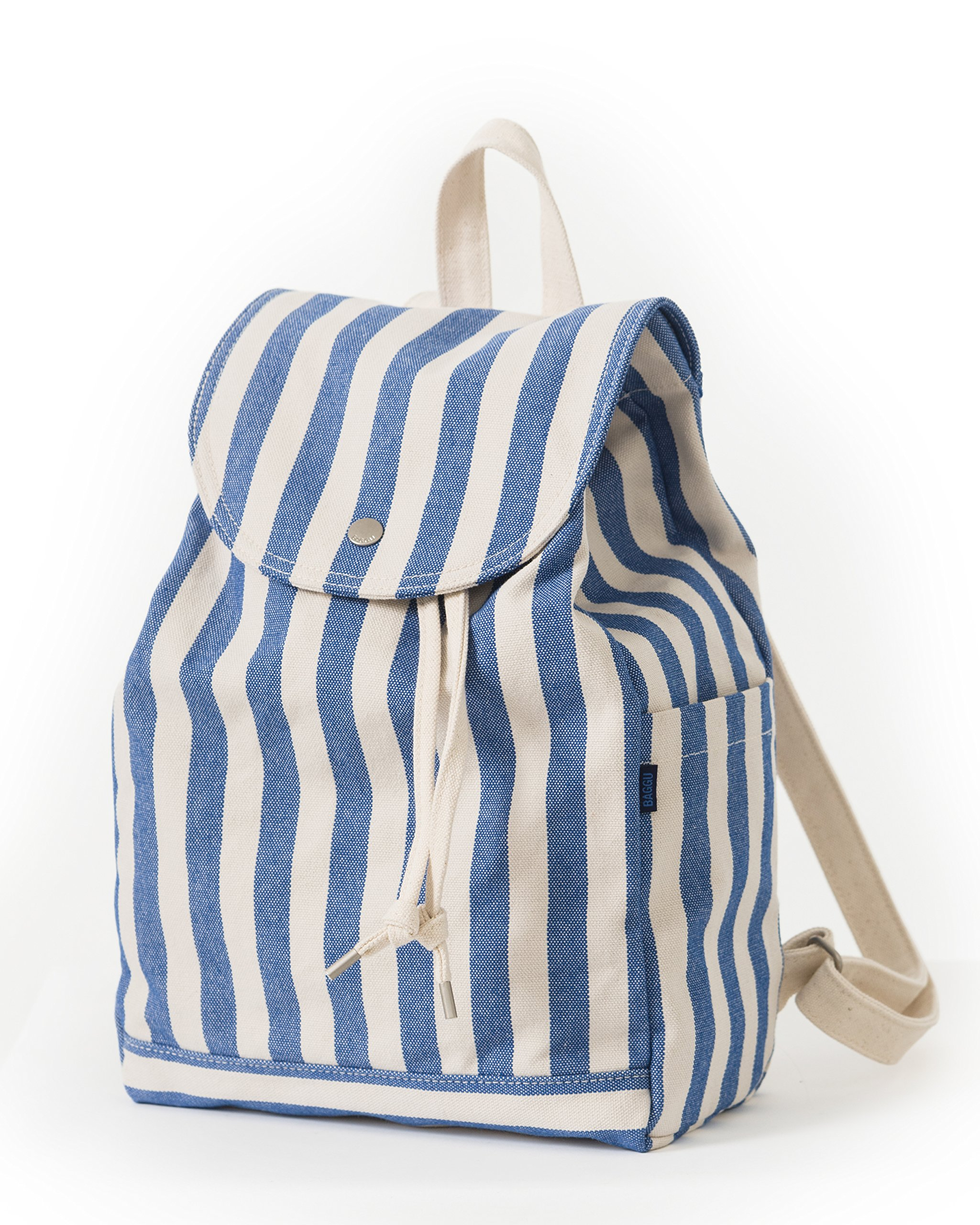 BAGGU Canvas Backpack, Durable and Stylish Simple Canvas Satchel for Daily Essentials, Summer Stripe