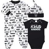 NFL Boys 3 Pack Bodysuit Sleep n Play Footie Cap Registry Gift Set
