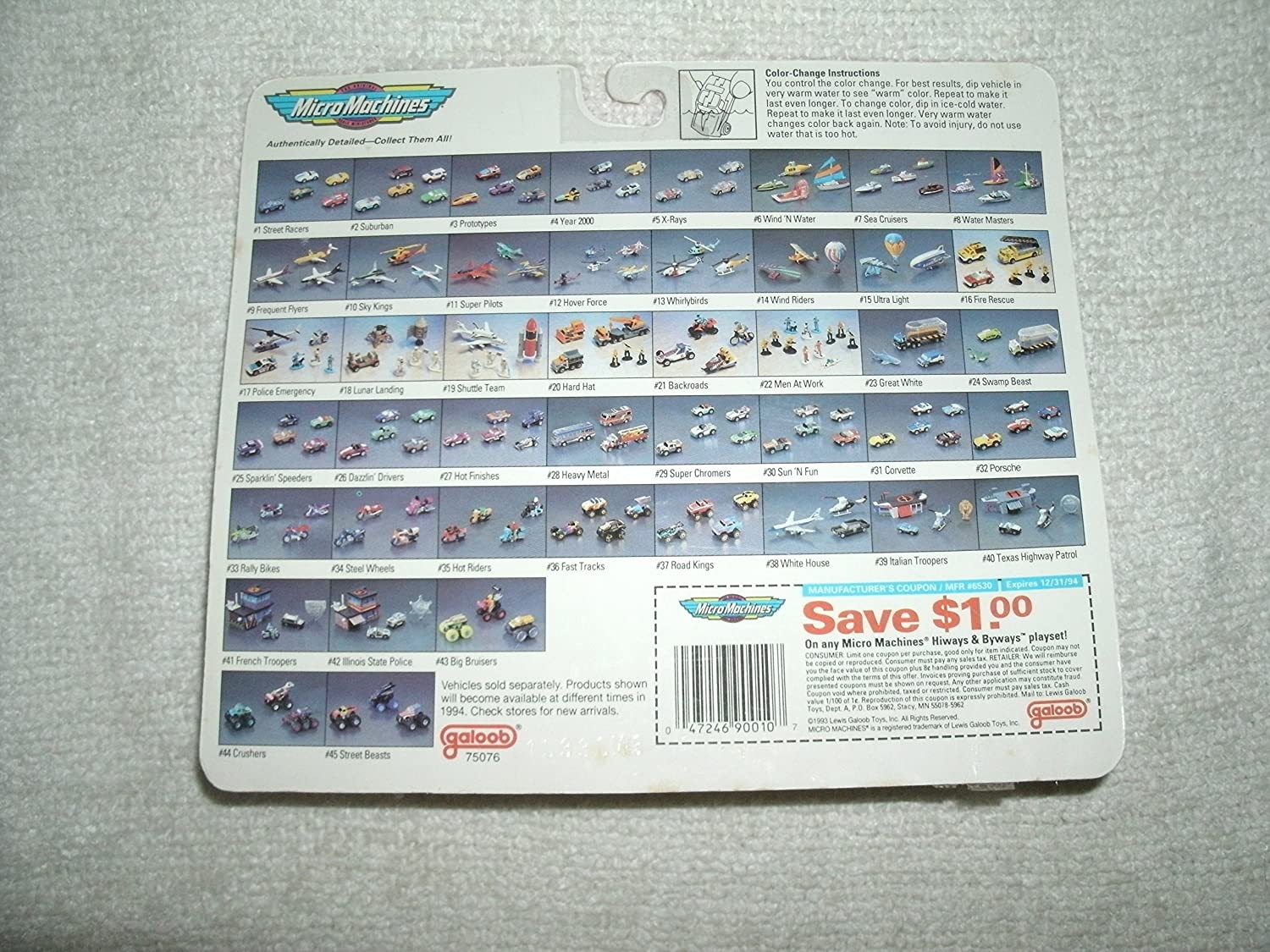 Galoob 1994 Micro Machines #16 Fire Rescue Collection with Rescue Team and Seven Vehicles Total Including Four Color Change Vehicles