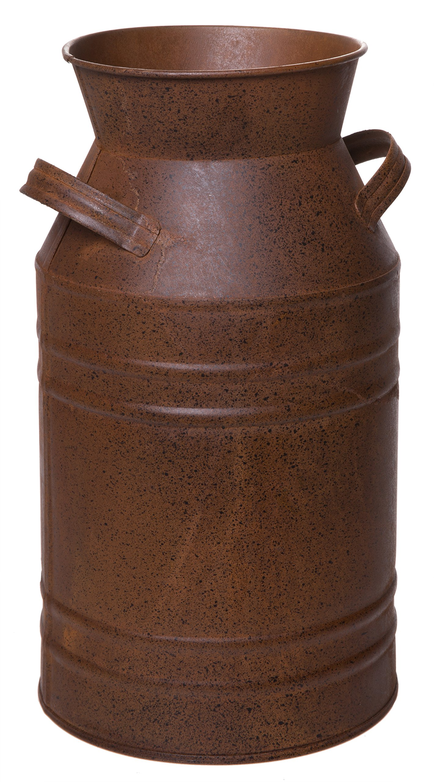 Red Co. Country Round French Pot Galvanized Metal Milk Can Multifunctional Bucket in Brown - 11 Inches High