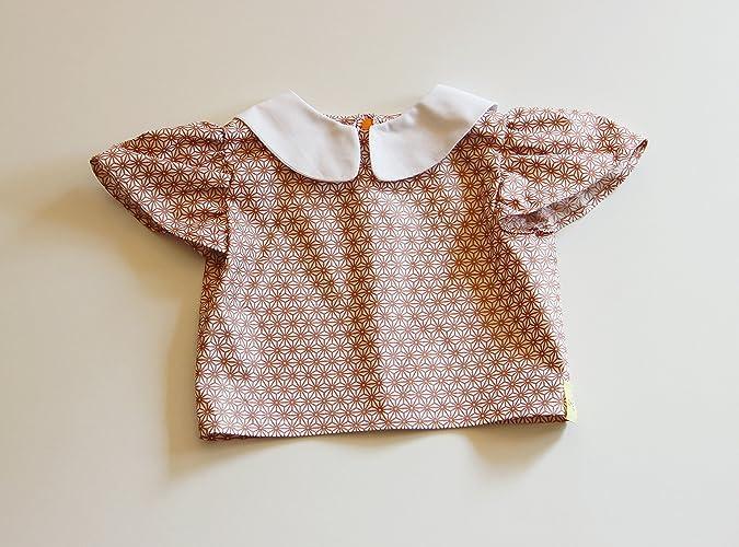 8ba7ab85980ed Blouse Chemise T-shirt Eté Bébé Fille en Coton Imprimé Marron et Blanc Col  Claudine