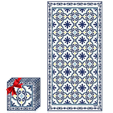 Amazon Com Non Slip Kitchen Mat Greek Garden Blue Cream White