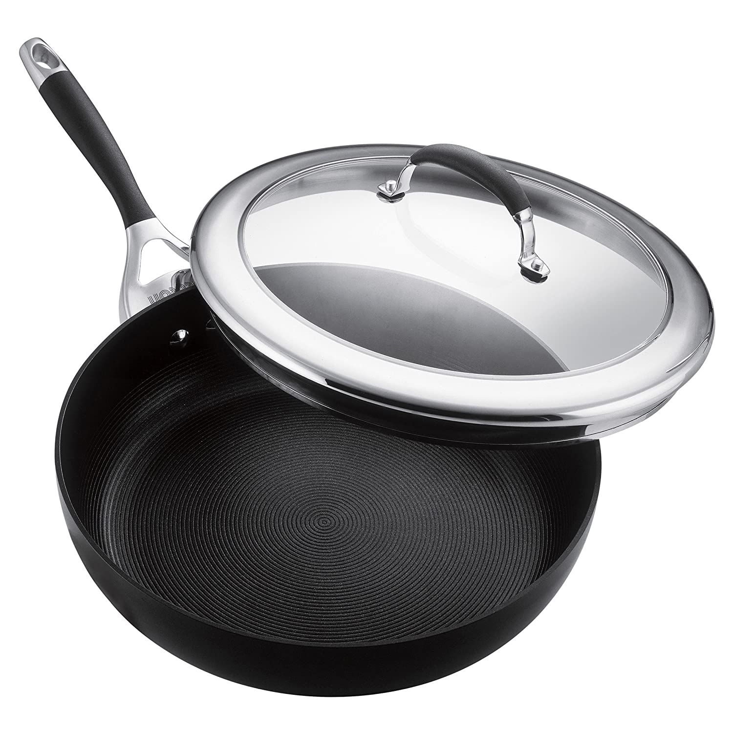 Circulon 80362 Elite Hard Anodized Nonstick Deep Frying Pan / Fry Pan /Deep Skillet with Lid - 12 Inch, Gray