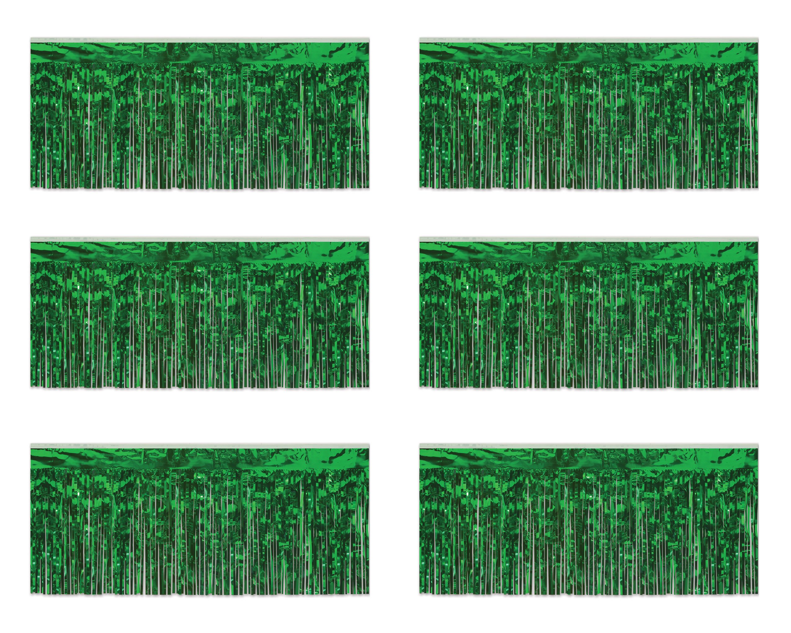 Beistle 55038-G 1-Ply Green Metallic Fringe Drapes, 15 Inch by 10 Feet, 6 Piece by Beistle