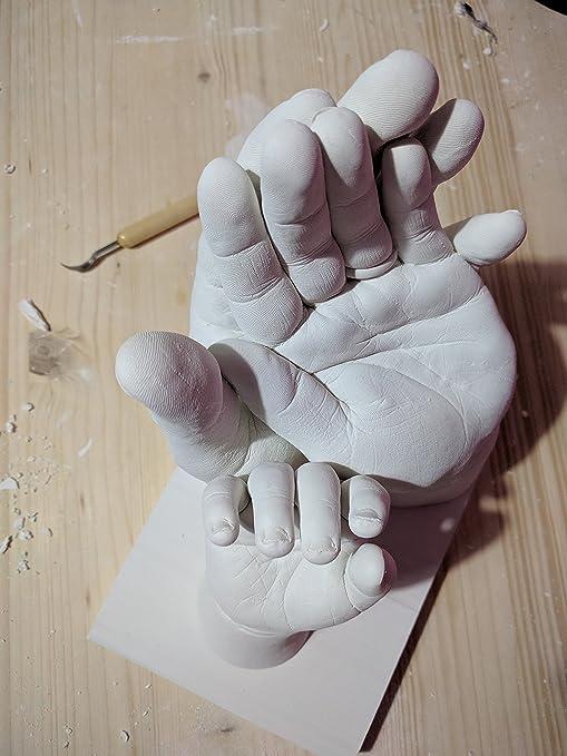 Moldes de yeso 3d manos, moldes para niños y adultos   calco manos, pies y huella con alginato para calchi y tiza   Kit Huella 3d para calco de tiza hasta a ...