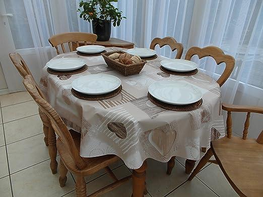 Tablecloth Mantel de PVC y vinilo ovalado, diseño de corazones de ...