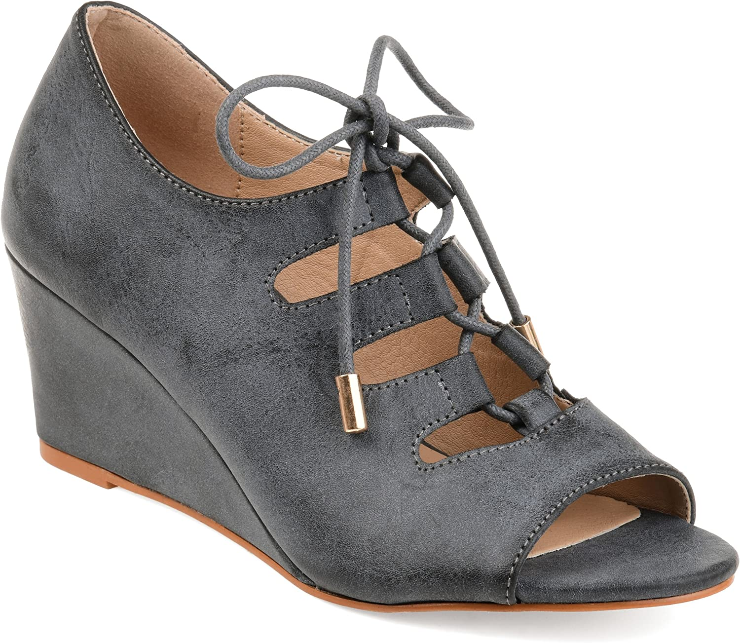 Journee Collection Womens Faux Leather Open Toe Lace-up Wedges