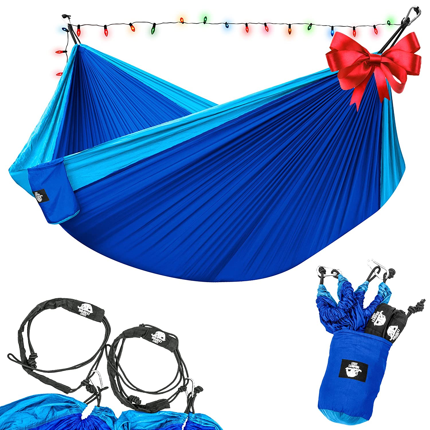 Best Hammock Tent-Legit Camping - Double Hammock - Lightweight Parachute Portable Hammocks for Hiking , Travel , Backpacking , Beach , Yard . Gear Includes Nylon Straps & Steel Carabiners