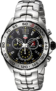 TAG Heuer Mens Formula 1 Senna Swiss Quartz Stainless Steel Dress Watch, Color