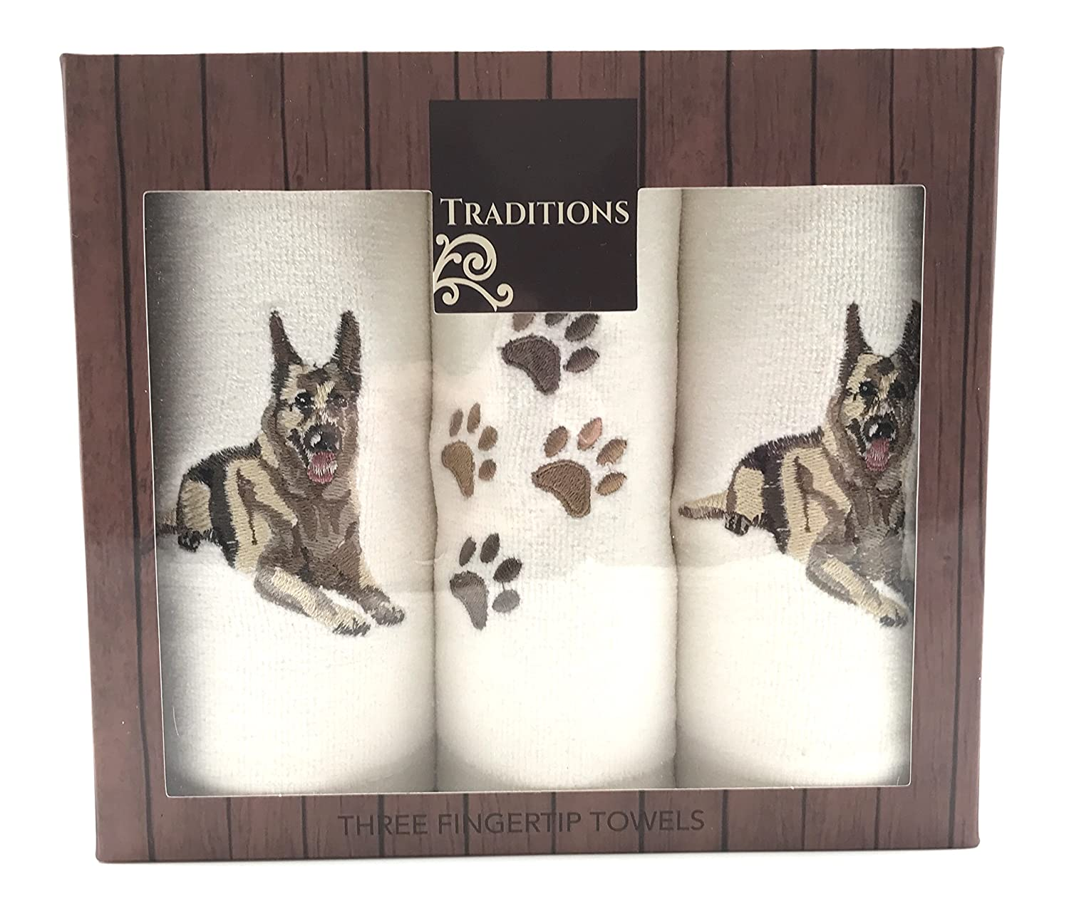Traditions Holiday Christmas Cotton Tip Towels: Decorative Embroidered Dog Design, 3 Piece Gift Pack (Boxer) Nantucket Distributing