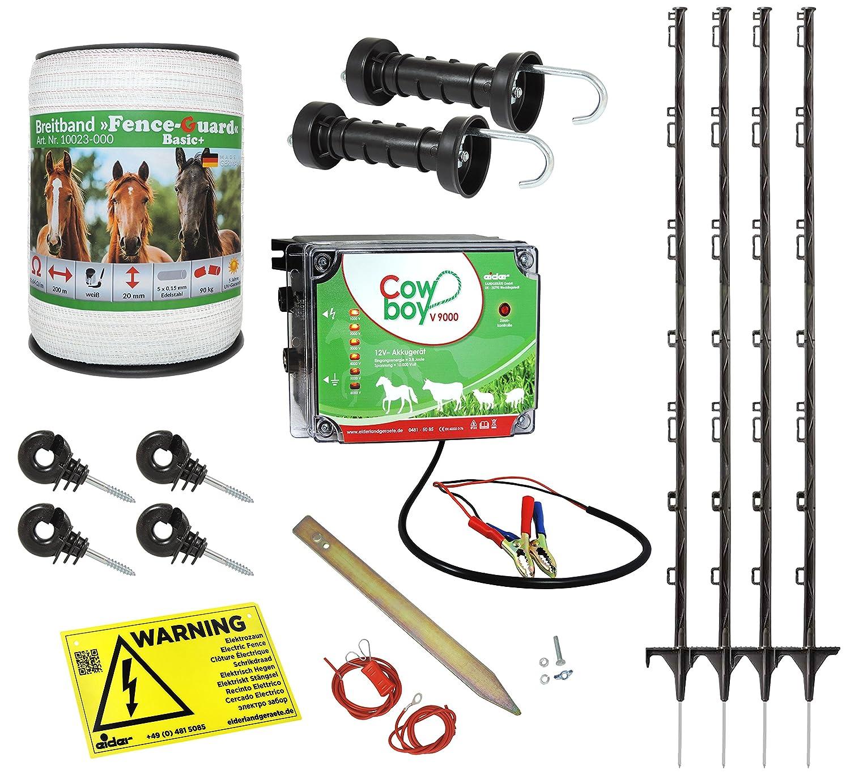 Weidezaun Starterset für Pferde und Ponys - alles was Sie zum Zaunbau benötigen - beliebig erweiterbar - Weidezaungerät, Leitermaterial, Pfähle, Isolatoren, Anschlusskabel