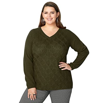 Avenue Women's Cable Stitched Zipper Back Pullover