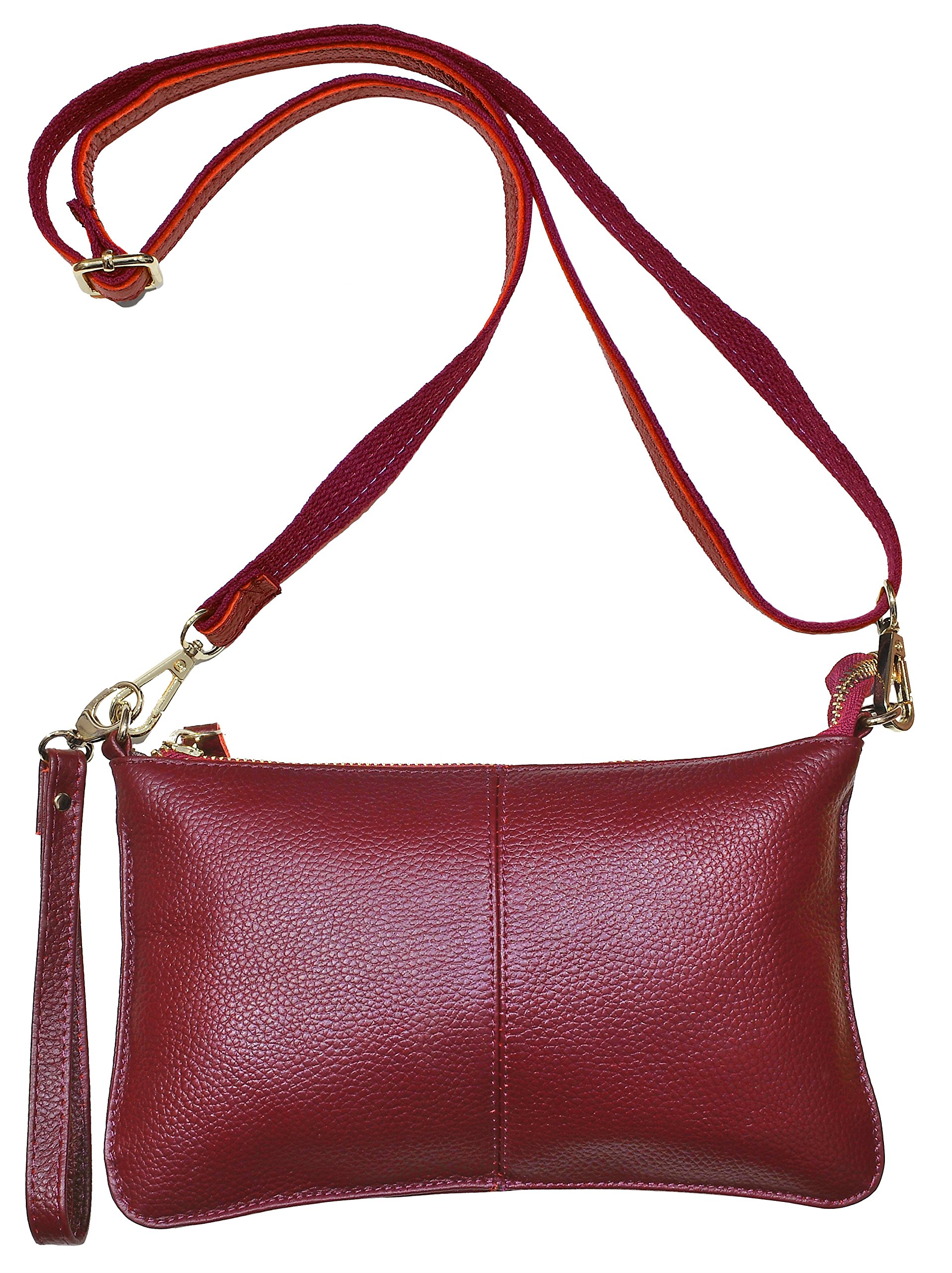 Beurlike Womens Leather Clutch Purse Wallet Small Crossbody Bag with Wristlet (Wine Red)