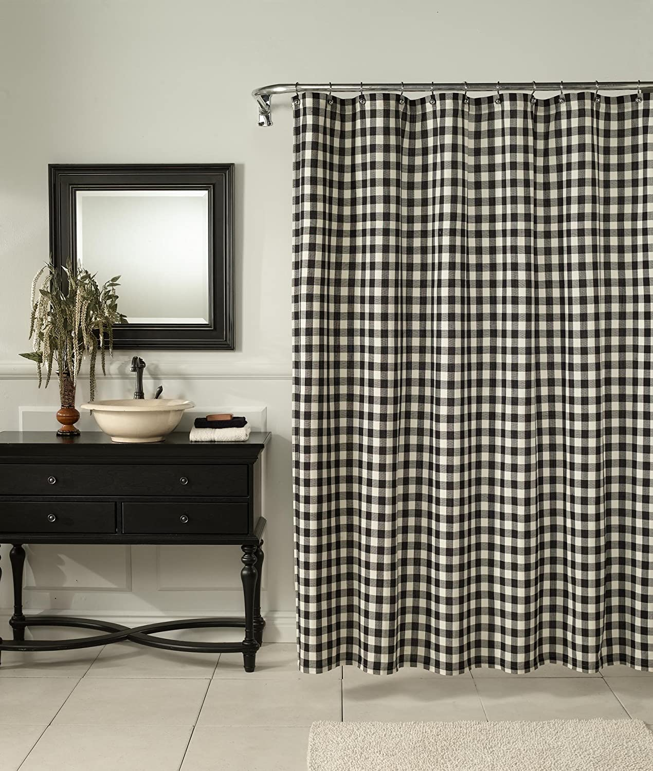 Amazon.com: m.style Classic Check Shower Curtain, Denim: Home ...