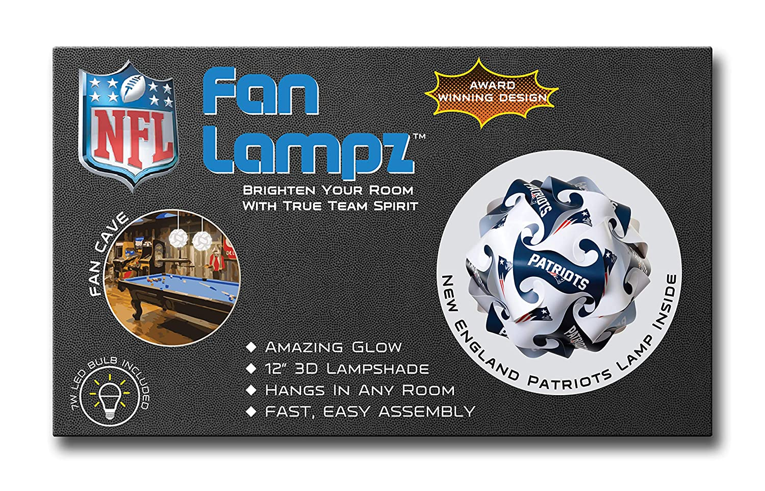Man Caves Garages FanLampz Original Self-Assembly Lighting System for Patios NFL Officially Licensed Item