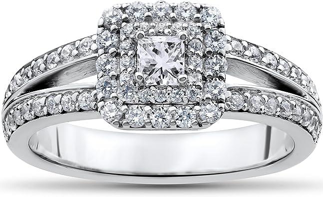 1 Ct Princess Cut Diamond Double Halo Engagement Ring 14k White Gold Amazon Com