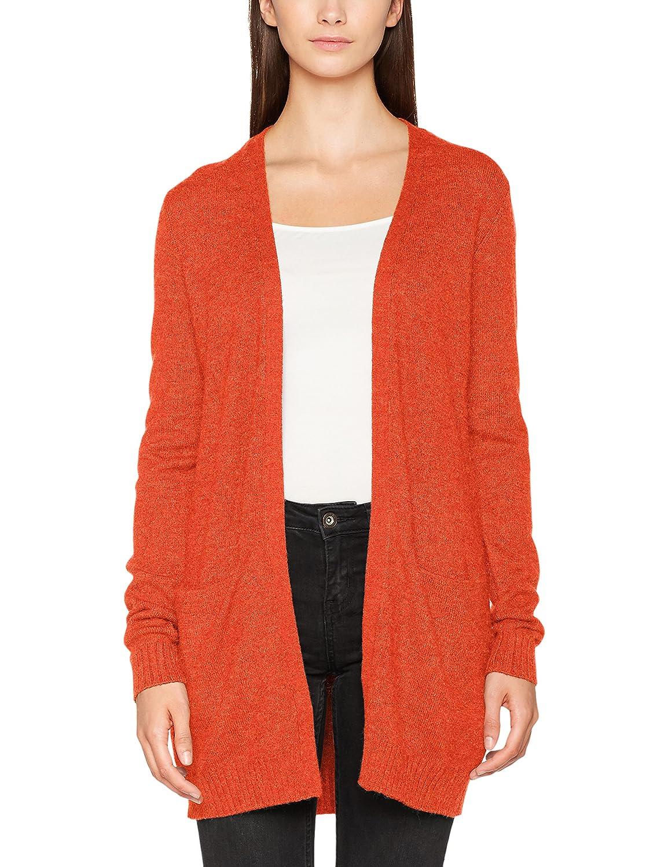 Vila Clothes Viril L/s Long Knit Cardigan-FAV, Chaqueta Punto para Mujer, Rojo (Orange.Com Detail:Melange), 44 (Talla del Fabricante: X-Large)