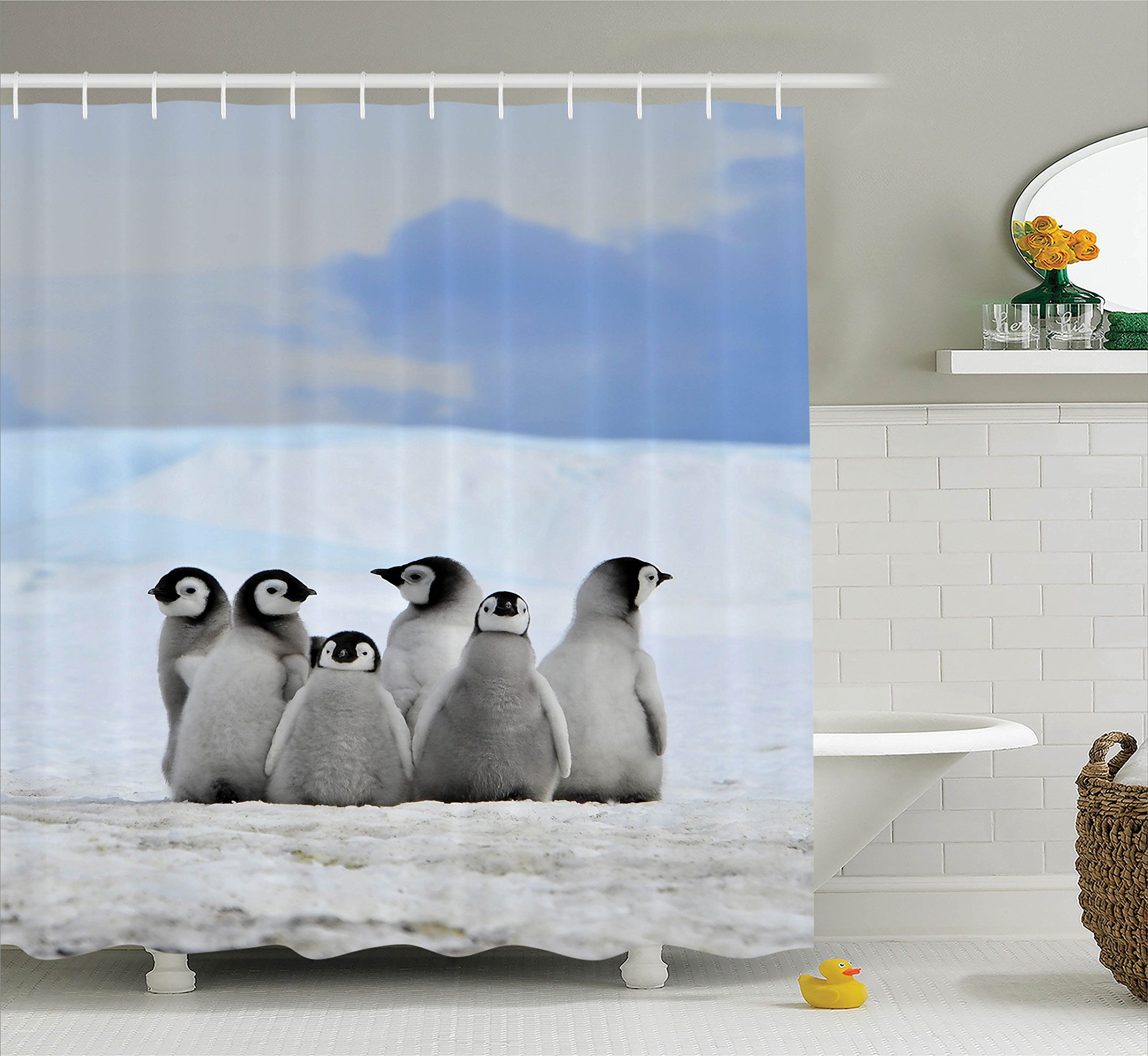 Ambesonne Sea Animals Decor Collection, Young Penguins Picture Background with Snow Pile and Winter Sky Picture Print, Polyester Fabric Bathroom Shower Curtain Set with Hooks, Alice Blue Gray by Ambesonne